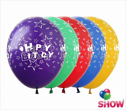 "SDR-13 12"" - Happy Birthday (5 ст.) 100 шт.(Gemar) opt-show"